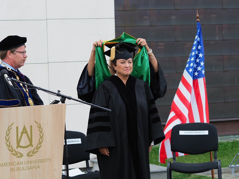 Dr. Kristalina Georgieva Receives the Honorary Degree of Doctor of Humane Letters from AUBG