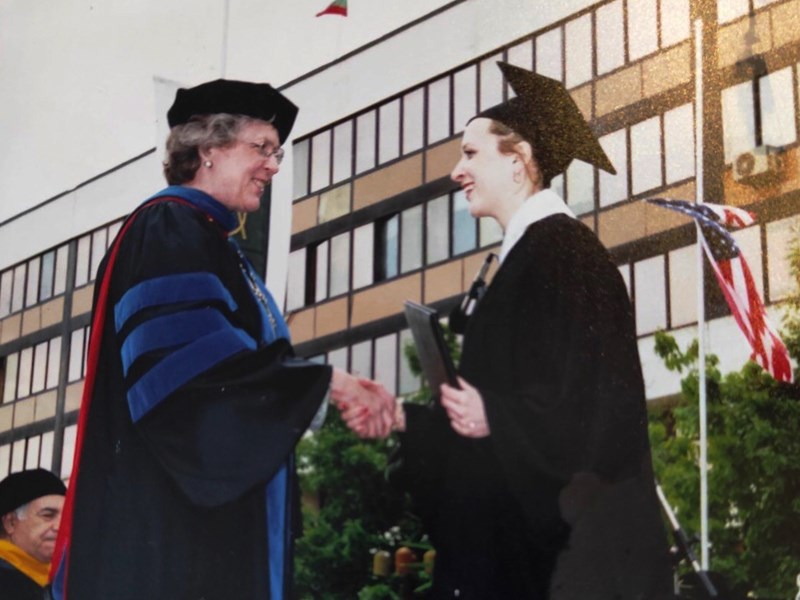 President Emerita Julia Watkins and Rumyana Trencheva at the 2000 commencement ceremony. <br /> Photo courtesy of Rumyana Trencheva.