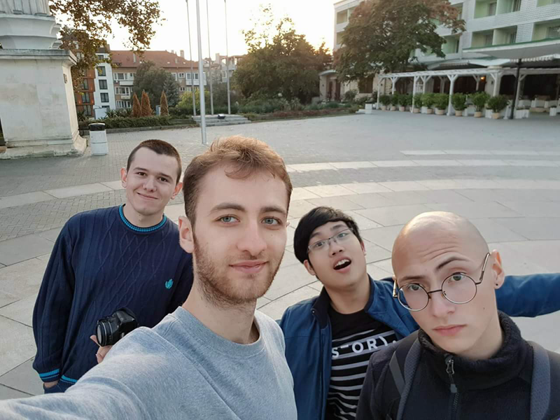 Phuc with his AUBG friends Slava Shklyaev ('18), who now works at Google, Emiljano Gjiriti ('19) who currently studies at the Swiss Federal Institute of Technology Lausanne and Euxhen Hasanaj ('19) who is enrolled at Carnegie Mellon University. <br />