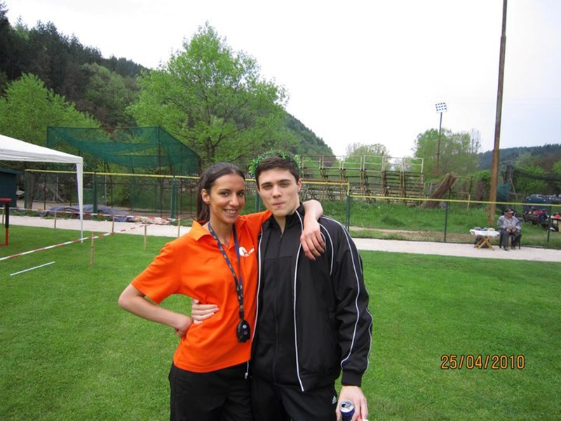 Lora Bogoeva and a friend at the 2010 AUBG Olympics. <br /> Photo courtesy of Lora Bogoeva.