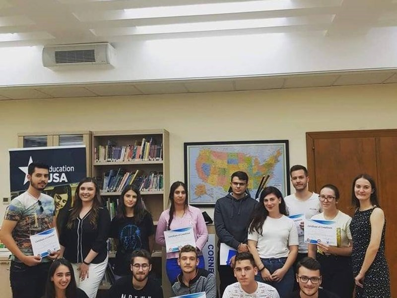 """Cracking Effectiveness and Time Management"" workshop for high school students, organized by Gjika, with the support of two other Youth Exchange and Study (YES) alumni, Tirana, Albania, 2019 <br />"