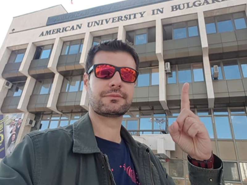 Miladin in front of the AUBG Main Building in 2018.  <br /> Photo courtesy of Miladin Bogetic.
